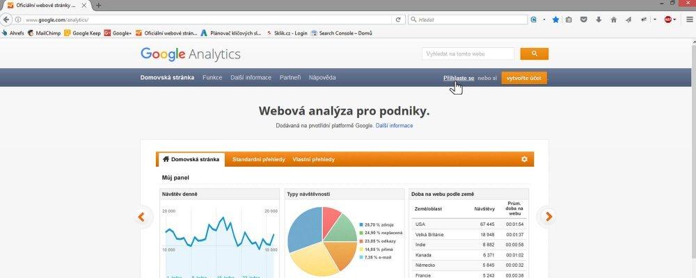 Přihlášení do Google Analytics