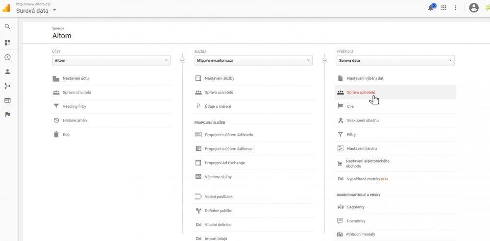 Správa uživatelů v Google Analytics