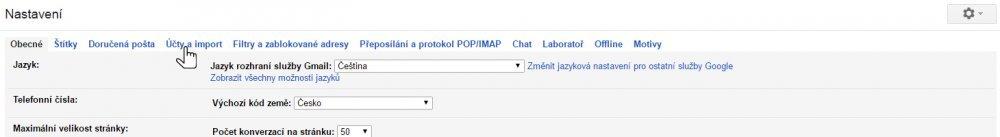 Nastavení Gmailu krok 2