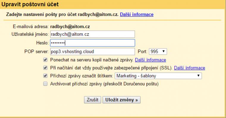 Nastavení Gmailu krok 5